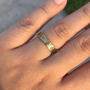Aelia - Roman Numeral Gold Ring